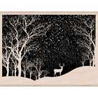 Hero Arts Mounted Rubber Stamp 425X325 Snowy Scene 085700903547