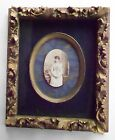 Victorian Picture Frame Ornate Gold w Oval Inner Frame Silk Mat Old Wavy Glass