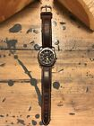 Victorinox Swiss Army Analog Day Date Watch Vintage Leather Strap Silver Black