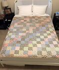 AMAZING Antique Postage Stamp Quilt Hand Pieced More than 9000 Pieces