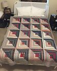 AMAZING Log Cabin Quilt Dark vs Light Shading Hand Quilted 66 x 84