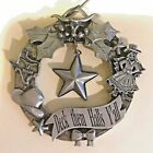 Vintage Deck them Halls Yall Wreathe Ornament Handcrafted Pewter by Marcie USA