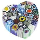 GlassOfVenice Murano Glass Millefiori Heart Paperweight Medium