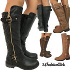 Womens Knee High Quilted Leather Riding Buckle Boot Top Moda Shoes 6 10