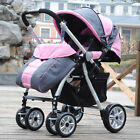 B03 Single Baby Pink + Gray Fabric Collapsible Comfortable 6 Wheels Strollers