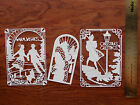 12 Tattered Lace CARD TOPPER die cut out Art Deco Christmas Scene Warm Wishes