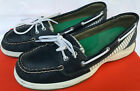 Sperry Laguna 9779406 Navy Leather Plaid Slip Loafers Boat Shoes Womens 95 M