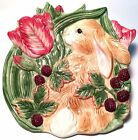 Fitz & Floyd China Blackberry Rabbit Canape Plate or Easter Bunny Wall Plaque