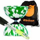 Harlequin Diabolos Set, Metal Diabolo Sticks, String & Bag (Green & White)