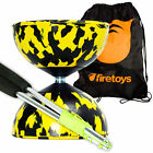 Harlequin Diabolos Set, Metal Diabolo Sticks, String & Bag (Yellow & Black)