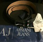 Armani Jeans Belt 100 Leather Black Limited Edition Golden Vintage NWT Italy