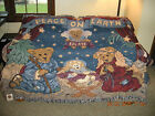 Boyds Bears 200 WOVEN TAPESTRY THROW PEACE ON EARTH NATIVITY CHRISTMAS DESIGN