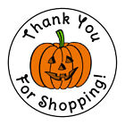 24 HALLOWEEN PUMPKIN THANK YOU FOR SHOPPING FAVOR LABELS ROUND STICKERS 167
