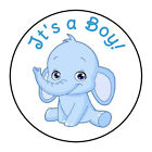 24 ITS A BOY BABY BLUE ELEPHANT SHOWER FAVOR LABELS ROUND STICKERS 167
