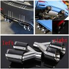 Durable Car Left+Right Exhaust Tip Dual Pipe Stainless Steel Real Carbon Fiber