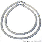 Italian Sterling Silver Crystal Mesh Necklace Width 8mm Lengths 16 20