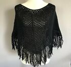 Bohemian Gypsy Womens One Size Hand Knitted Black Crochet Shrug Poncho