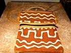 Vintage Leather Hippie Purse Great Graphic Design Leather Strap Backing CLASSIC