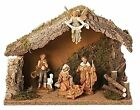 5 pc Italian Fontanini Nativity Set with Wooden Stable Christmas Decoration