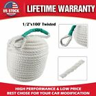 White Twisted Three Strand Nylon Anchor Rope Boat with Thimble 1 2x100 5850LB