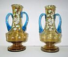 Bohemian Art Glass Vases Moser Floral Matched Pair Amber Blue Victorian
