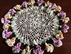 Hand Crochet Doily Orange Purple Pansies Floral 3D Decor Just Gorgeous Estate