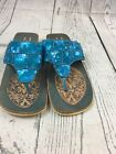 Womens Sandals Made In India Turquoise Sequin 7