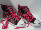 Black Hot Pink Plaid Hi Top Basketball Style Sneakers with 9 3 4 Footbed