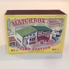 Matchbox Lesney Accessory MF 1a Fire Station Green Roof empty Repro D style Box