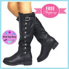 Womens Riding Boots Pu Leather Knee High Winter DREAM PAIRS Black Size 9 M US
