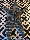 Old Navy Infant Fleece Hooded Snowsuit Bunting White Stripes Grey 0 3 Months