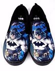 Batman Mens Size 10 Canvas Sneakers Slip On Skate Skater Style Shoes Black Blue