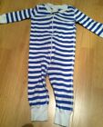 BOYS HANNA ANDERSSON ONE PIECE L S SLEEPER WHITE BLUE STRIPED 9 18 MONTHS