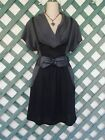 DELIRIOUS GRAY BLACK MOCK BELTED COWL DRESS XL CAREER CHURCH PARTY WEDDING BOHO