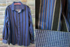 Bugatchi Uomo Mens Shirt XL Multi Stripe Flip Cuff Classic Fit    D15