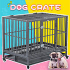 362430 Heavy Duty Metal Dog Crate Pet Kennel Cage Playpen w Tray Castor
