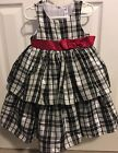 Cherokee Black  White Plaid Dress W Red Bow Size 3T Holidays Or Christmas