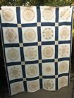 c1890 Antique MARINER'S COMPASS QUILT with LOTS OF STARS Hand Stitched 64x82
