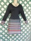 BLACK STRIP FLIRT DRESS 16 NEW NEW CAREER CHURCH HOLIDAY PARTY WEDDING