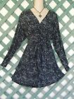DAISY FUENTES BLACK GRAY SURPLICE BELTED DRESS XL CAREER WEDDING CHURCH PARTY