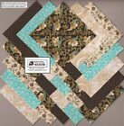40 4 inch Teal Brown Floral Fabric Squares Quilt Craft Sewing Charm Packs 0957