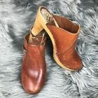 Krone Clogs Sz 6 Cognac Brown Wooden Heels Leather Mules Stapled Made In Denmark