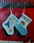 TWO Mini Stockings CrossStitch Kit Apple Boy  Apple a Day