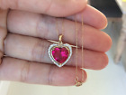 699 New 10k Solid Yellow Gold 400ctw Ruby  Diamond Accents Heart Necklace 18