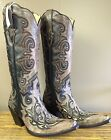 Ladies Corral Black Brown Tall Boots W Studs Size 7 G 1069 New In Box