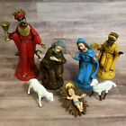 Vtg 7pc Italy Holy Family Sheep Wisemen Christmas NATIVITY Hand Painted Plastic