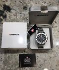 New! $395 Wenger Swiss Military Black Aquagraph SS Chronograph Watch 79302C