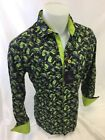 Mens SUSLO COUTURE Designer Shirt Woven Shirt BLACK and GREEN LEAFS 813 24 NWT