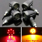 4x Motorcycle 12 LED 3 Wires Turn Signal Blinker Brake Lights Black Bullet USA
