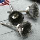 10X Polishing Rotary Tool 25mm Stainless Steel Burrs Cup Brush Buffing Wheels